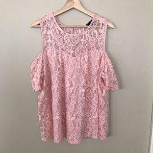 M&E - Blush Pink Lace Cold Shoulder 1X